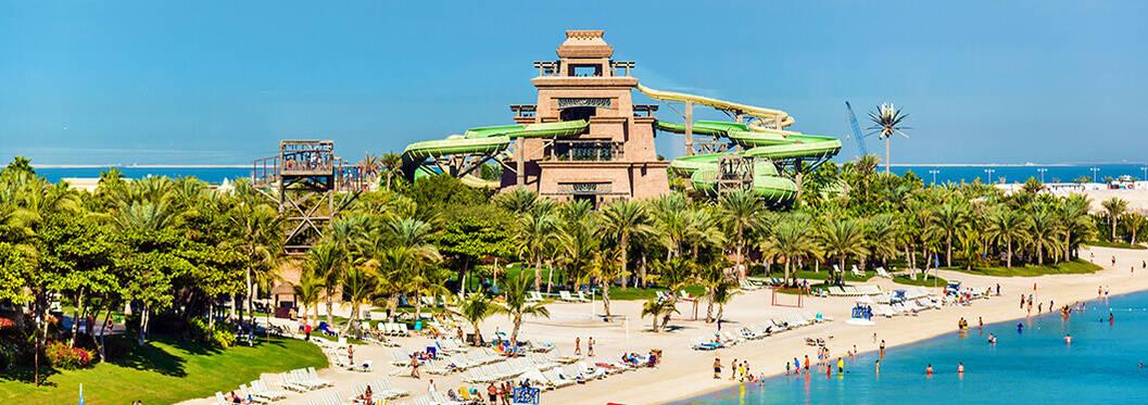 Atlantis Aquaventure slides and beach