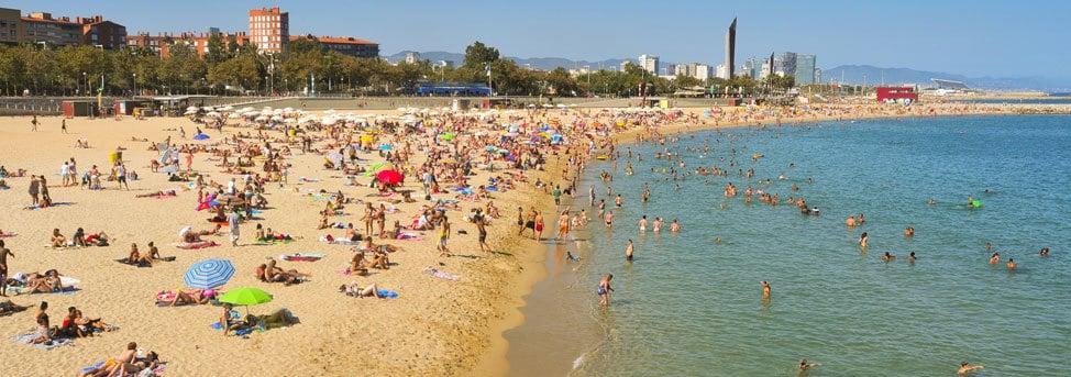 bogatell beach in barcelona on a sunny day