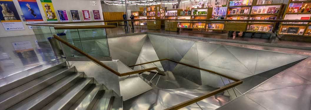 Steel staircase inside CaixaForum