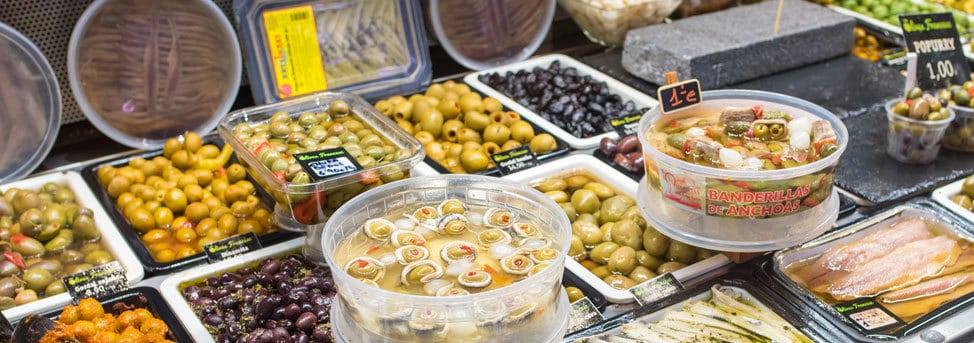 food in tubs at el raval in barcelona