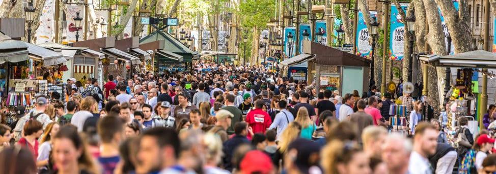 Busy Las Ramblas in Barcelona