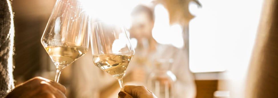 Cheersing with wine at Pacha
