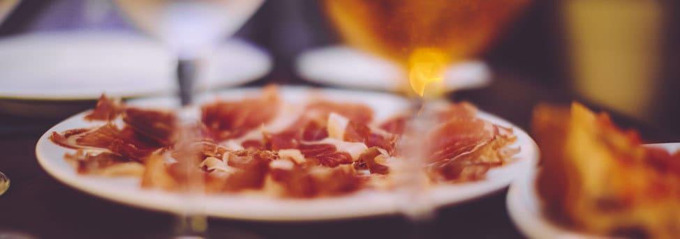 Ham on plate at razzmatazz club in Barcelona