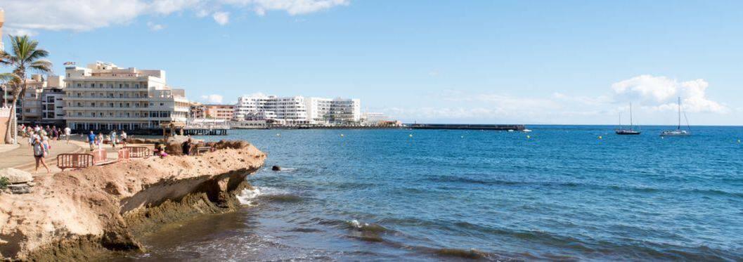 Beautiful seascape landscape and holiday apartments along the coast of El Medano, Costa del Silencio, Tenerife, Spain