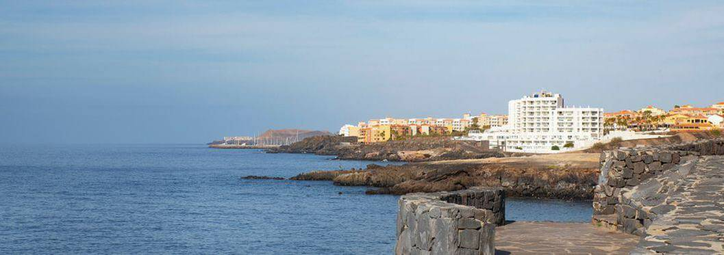 Clear vistas towards San Blas and Golf del Sur, popular southern resorts in Tenerife, Canary Islands, Spain