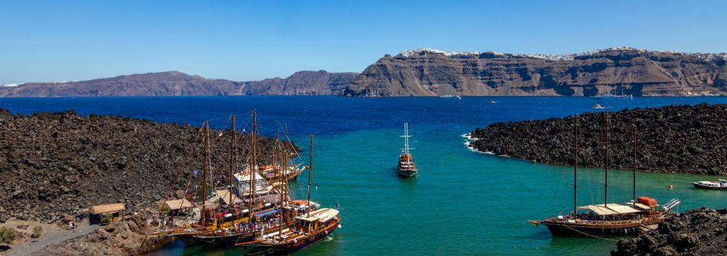 Nea Kameri port view with boats, Santorini, Greece