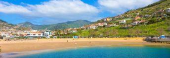 Panorama of famous Machico bay beach in Madeira