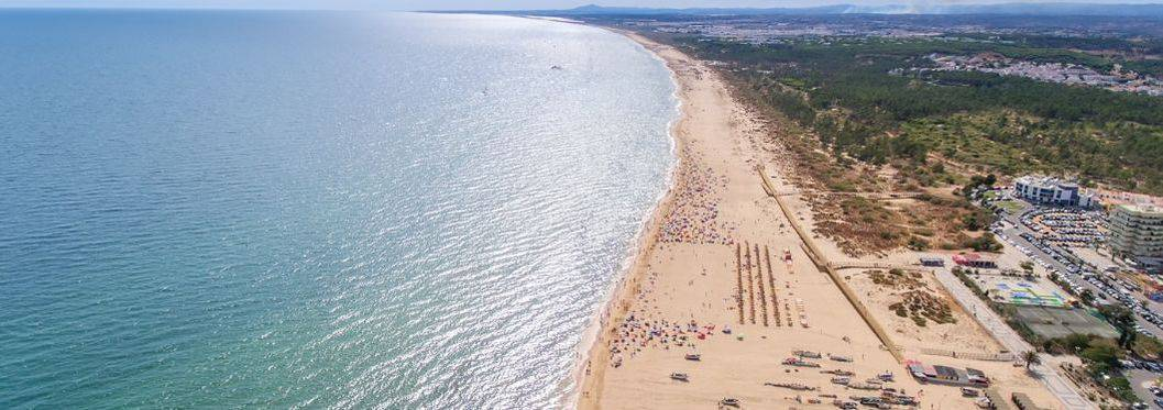 Aerial. The coastal spit of the Algarve, the beaches Monte Gordo and Altura