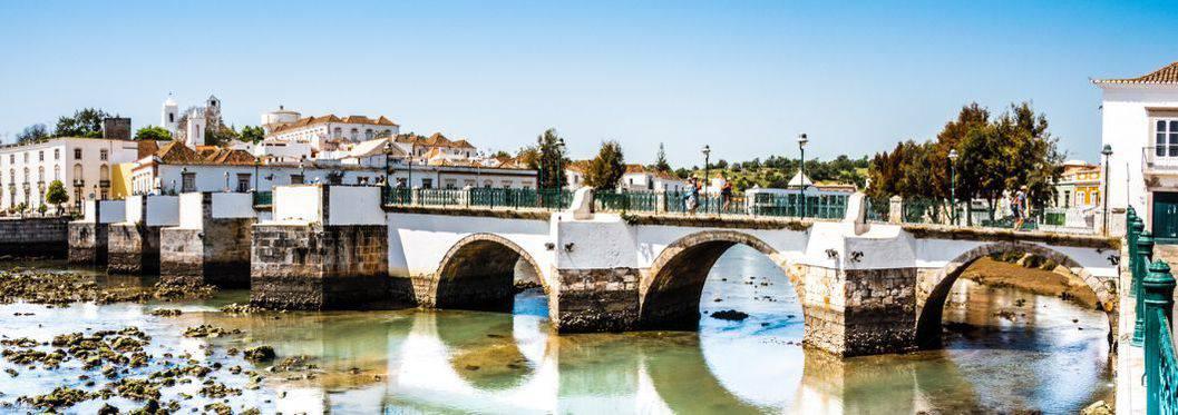 Historic bridge in Tavira, Algarve, Portugal, Europe