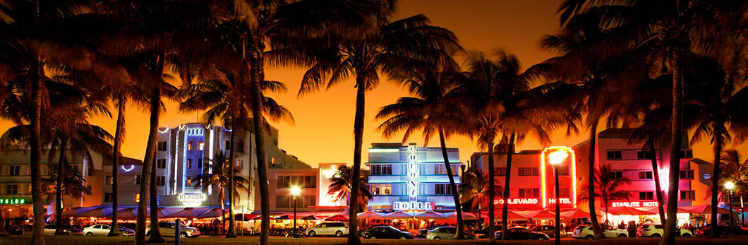 United states street with motel and palm trees